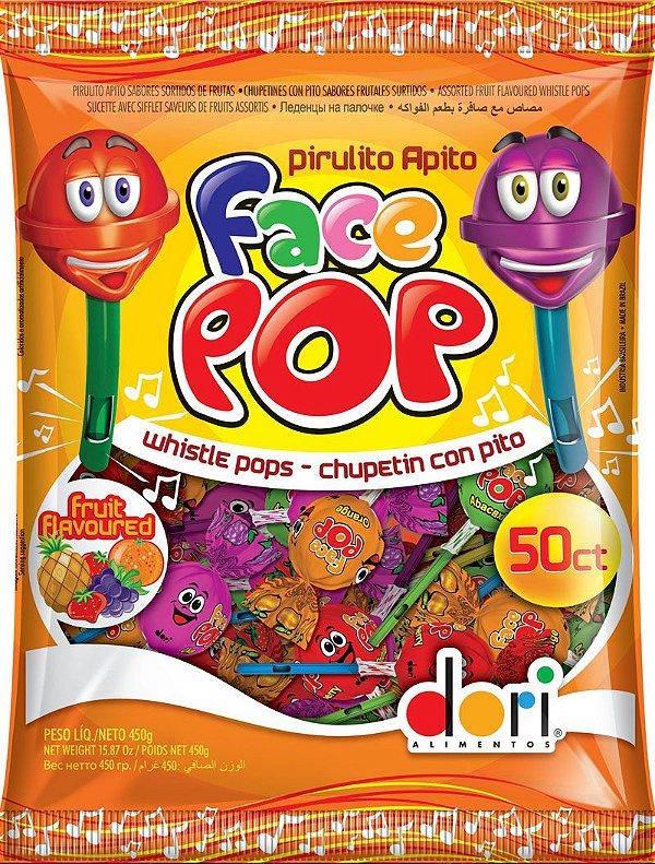 Pirulito Face Pop Apito 50 unidades 450g - Dori Alimentos - Rizzo Embalagens