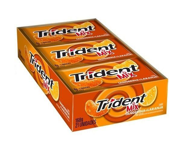 Goma de Mascar Trident Mix Tangerina + Laranja 21 unidades - Rizzo Embalagens