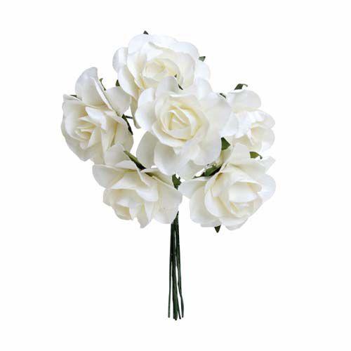 Bouquet de Flores Brancas 3,2cm - 02 unidades - Cromus Casamento Classico - Rizzo Festas