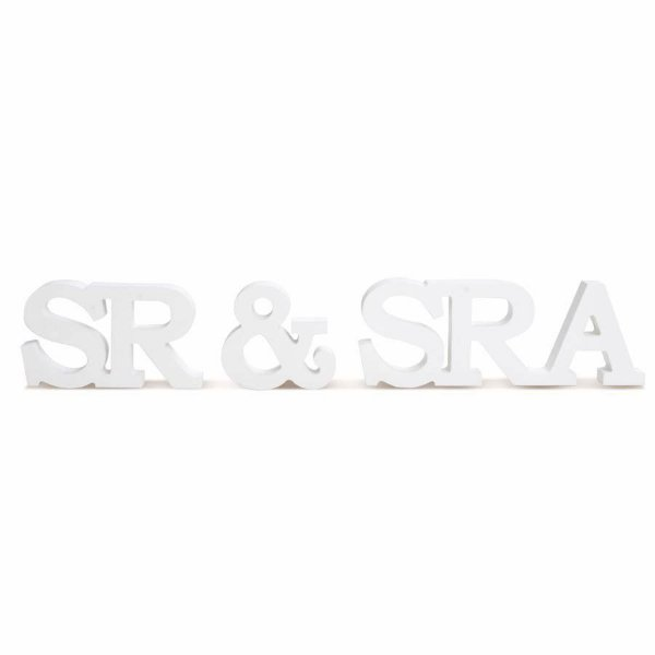 Letras de Madeira SrSra (29000320) - 01 unidade - Cromus Casamento Classico - Rizzo Festas