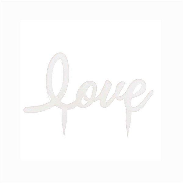 Topo de Bolo Love Branco - 01 unidade - Cromus Casamento Romantico - Rizzo Festas
