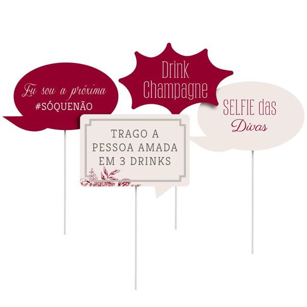Plaquinhas Divertidas Para Pista 23010855 - 08 unidades - Cromus Casamento Escarlate - Rizzo Festas