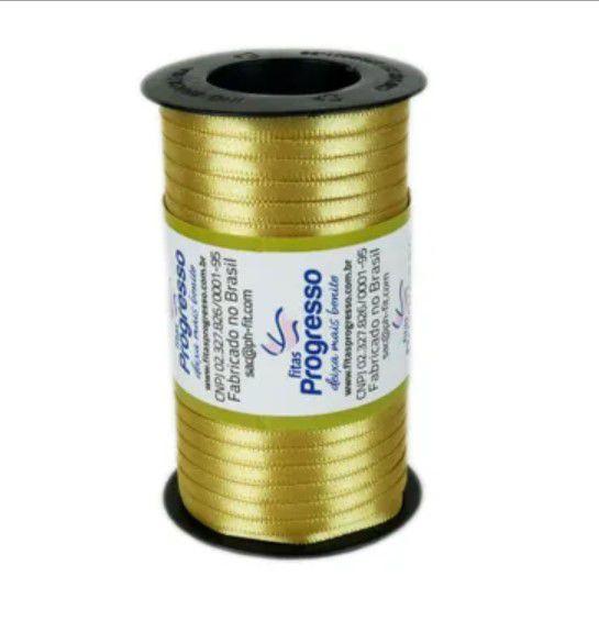 Fita de Cetim Carretel Progresso 6mm nº01 - 100m Cor 228 Ouro - 01 unidade - Rizzo Embalagens