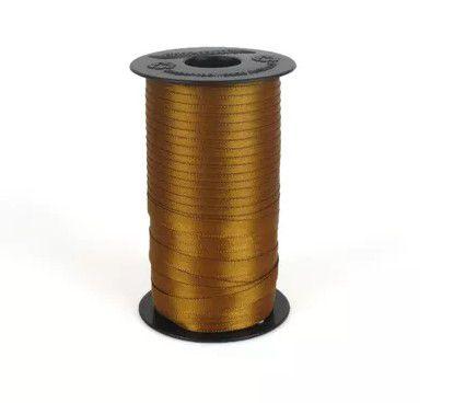 Fita de Cetim Carretel Progresso 6mm nº01 - 100m Cor 043 Marrom Dourado - 01 unidade - Rizzo Embalagens