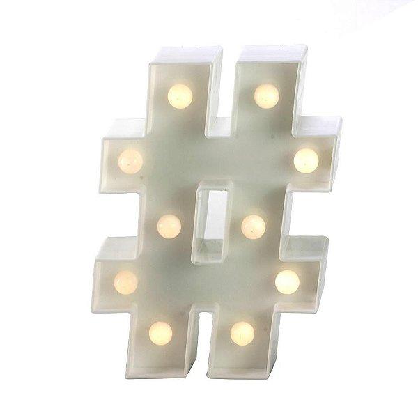 Símbolo LED Decoração Festa - # hashtag - 01 unidade - Rizzo Festas