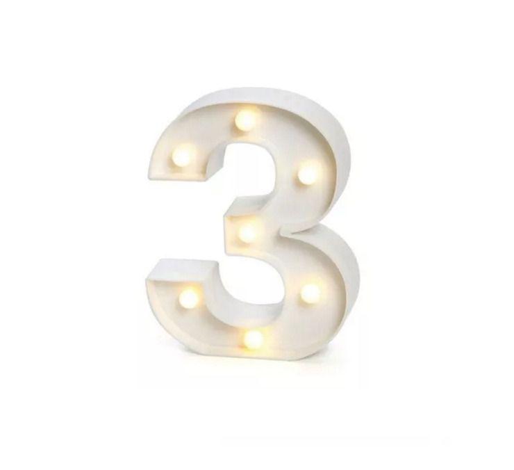 Número LED Decoração Festa - nº 3 - 01 unidade - Rizzo Festas
