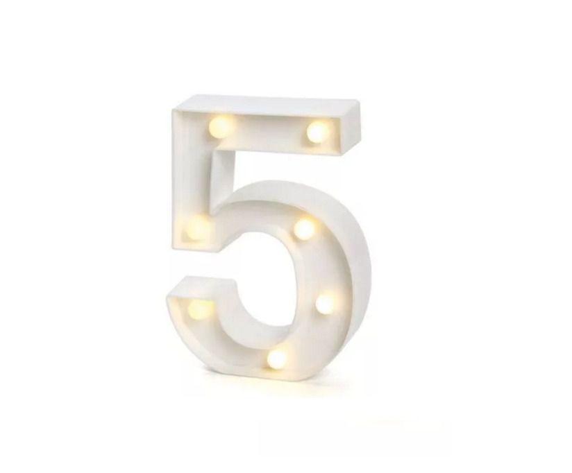 Número LED Decoração Festa - nº 5 - 01 unidade - Rizzo Festas
