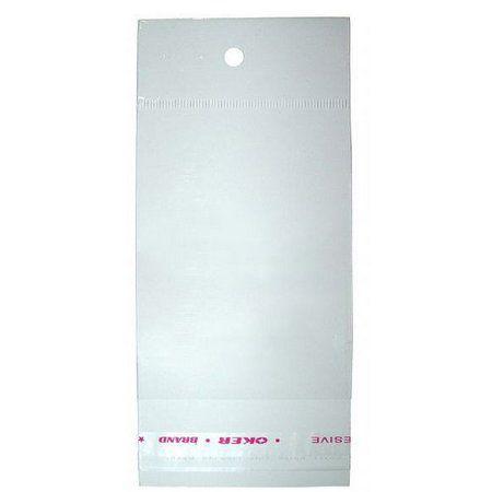 Saco Adesivado com Furo para Pendurar - 6cm x 25cm - 100 unidades - Rizzo Embalagens