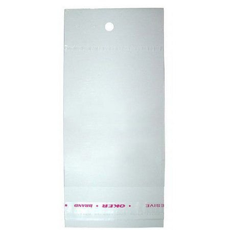 Saco Adesivado com Furo para Pendurar - 4cm x 7cm - 100 unidades - Rizzo Embalagens
