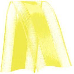 Fita de Voal com Cetim VCE009 38mm Cor 763 Amarelo Gema - 10 metros - Progresso - Rizzo Embalagens