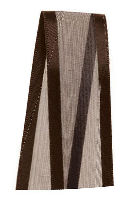 Fita de Voal com Cetim ZC005 22mm Cor 340 Marrom Café - 10 metros - Progresso - Rizzo Embalagens