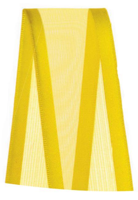 Fita de Voal com Cetim ZC009 38mm Cor 763 Amarelo Gema - 10 metros - Progresso - Rizzo Embalagens