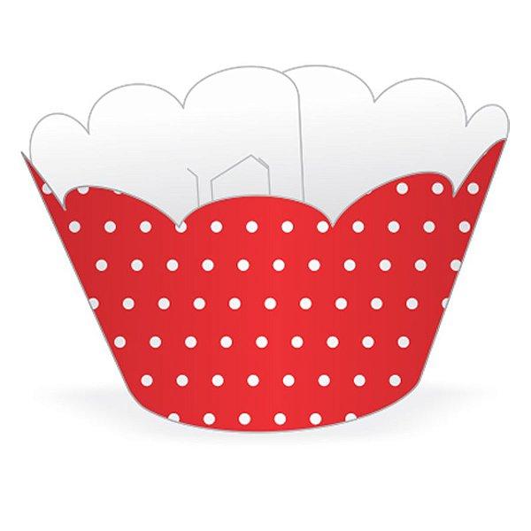 Wrapper Cupcake Tradicional - Vermelho Poá - 5cm x 22cm - 12 unidades - Nc Toys - Rizzo Embalagens