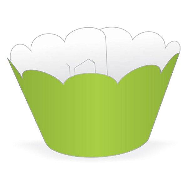Wrapper Cupcake Tradicional - Verde Limão - 5cm x 22cm - 12 unidades - Nc Toys - Rizzo Embalagens