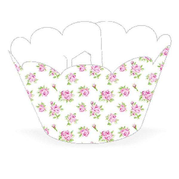 Wrapper Cupcake Tradicional - Floral Branco - 5cm x 22cm - 12 unidades - Nc Toys - Rizzo Embalagens