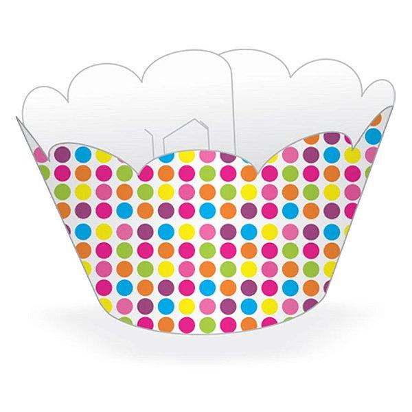 Wrapper Cupcake Tradicional - Bolinhas Coloridas - 5cm x 22cm - 12 unidades - Nc Toys - Rizzo Embalagens