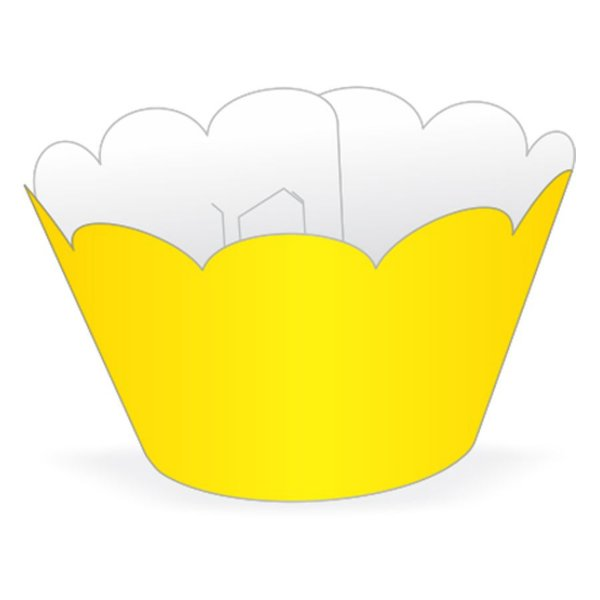 Wrapper Cupcake Tradicional - Amarelo - 5cm x 22cm - 12 unidades - Nc Toys - Rizzo Embalagens