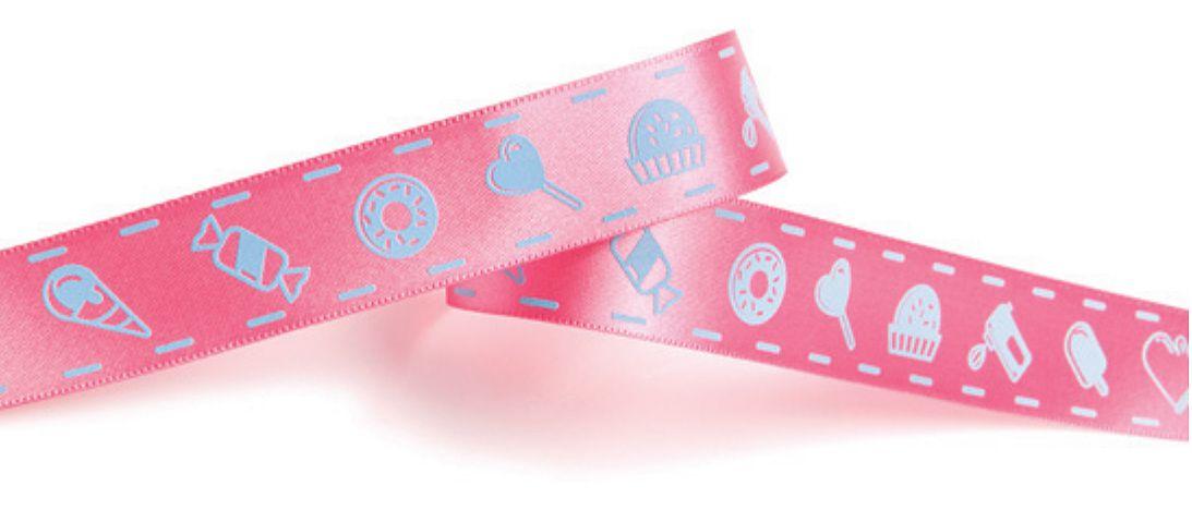 Fita de Cetim Decorada Rosa Doces Azuis 22mm ECF005S Cor 192 - 10 metros - Progresso - Rizzo Embalagens