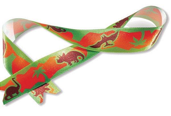 Fita de Cetim Decorada Verde Dinossauros 22mm ECF005TR Cor 028 - 10 metros - Progresso - Rizzo Embalagens