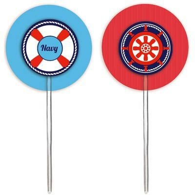 Pick para Cupcake Festa Marinheiro - 12 unidades - Cromus - Rizzo Festas