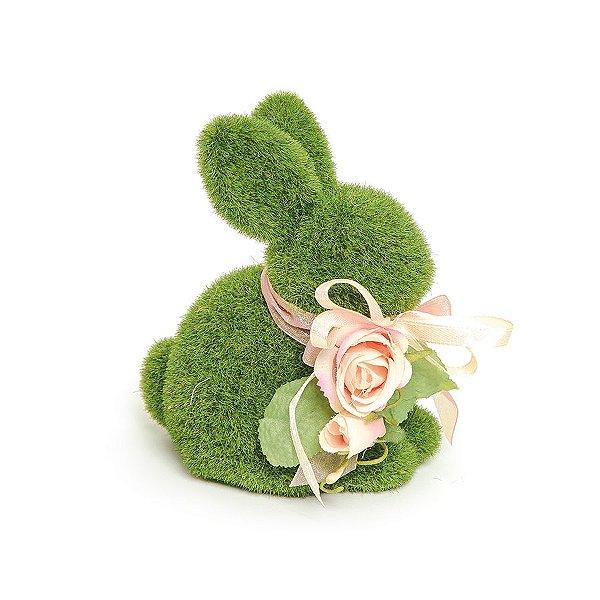 Coelho Sentado Verde Rústico Flor - 14cm x 8cm x 11cm - Linha Rústic - Cromus Páscoa Rizzo Embalagens