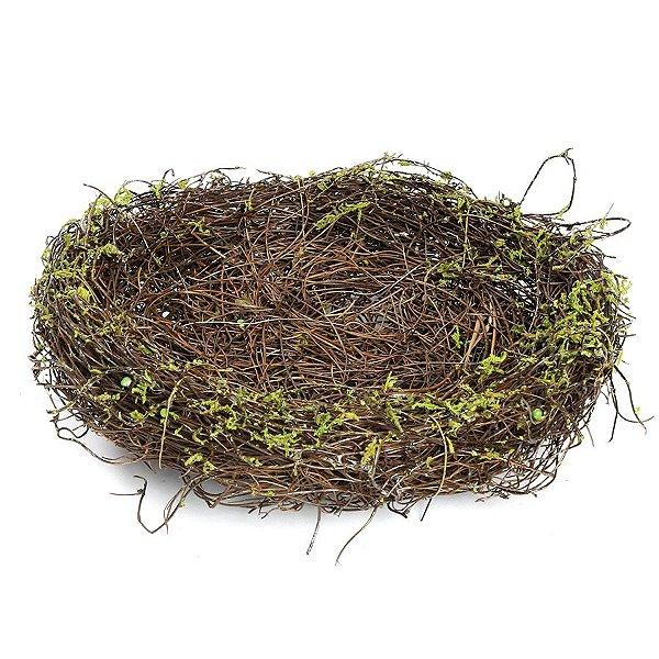 Ninho em Rattan Verde Rústico - G 20cm - Linha Rustic - Cromus Páscoa Rizzo Embalagens
