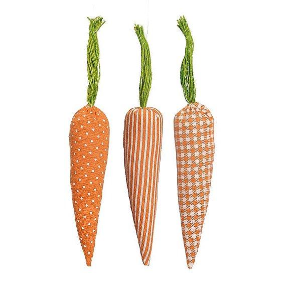 Cenoura em Tecido para Decoração de Páscoa - 18cm x 4cm - 3 unidades - Cromus Páscoa Rizzo Embalagens