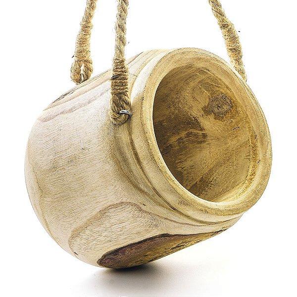 Pote de Madeira para Pendurar Decoração de Páscoa Rústica - P 21cm x 22cm - Cromus Páscoa Rizzo Embalagens