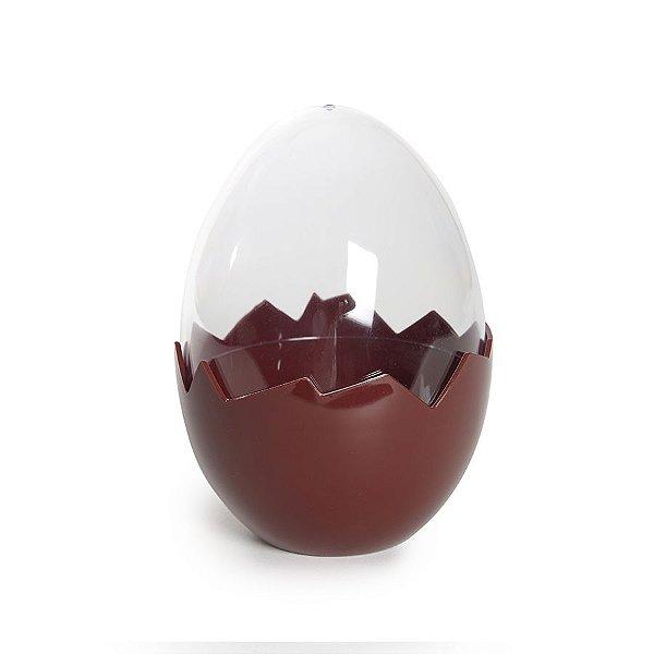 Ovo Transparente Base Marrom em Acrílico - P 11cm x 8cm - Cromus Páscoa - Rizzo Embalagens