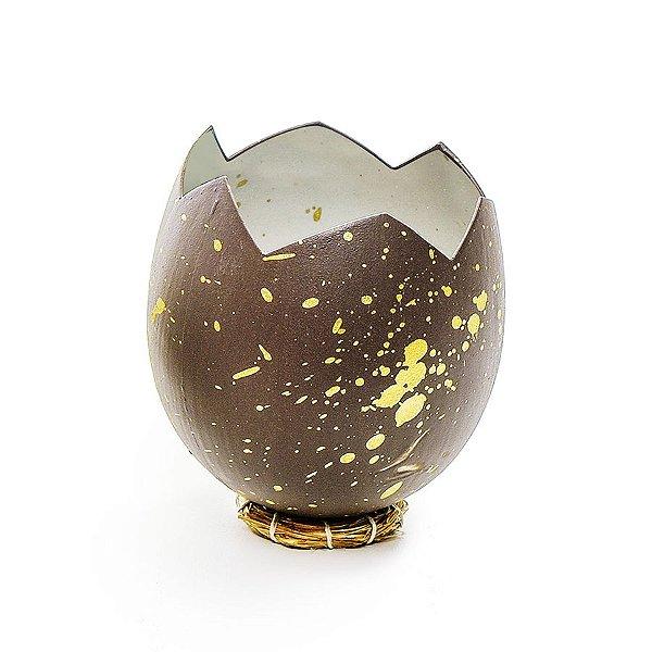 Casca Ovo em Pé com Suporte de Fibra Marrom Ouro - 10cm x 8cm - Cromus Páscoa - Rizzo Embalagens