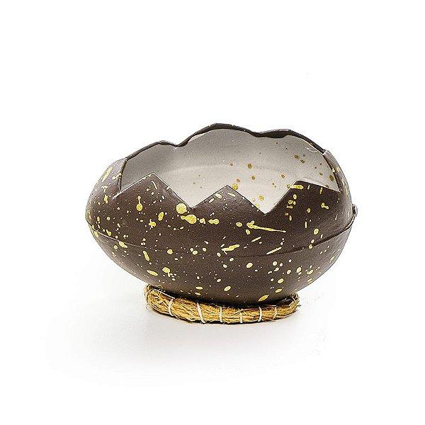 Casca Ovo em Deitado com Suporte de Fibra Marrom Ouro - 8cm x 12cm - Cromus Páscoa - Rizzo Embalagens