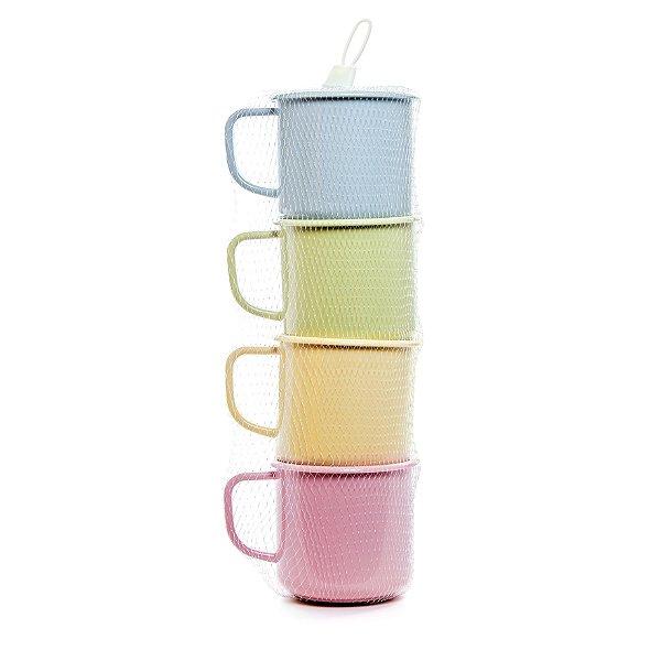 Jogo de Canecas de Plástico com Acabamento Esmaltado - 300ml - 4 unidades - Cromus Páscoa - Rizzo Embalagens