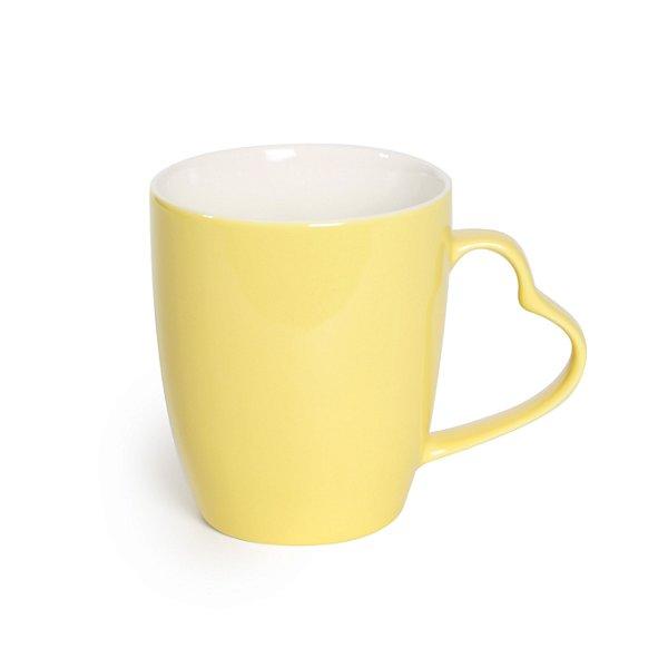Caneca Cerâmica Alça Coração Amarela - 350ml - Cromus Páscoa - Rizzo Embalagens