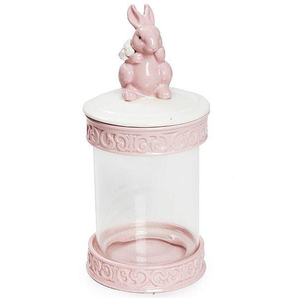 Pote Hermético em Vidro e Cerâmica Coelho Rosa - 21cm x 10cm - Cromus Páscoa - Rizzo Embalagens