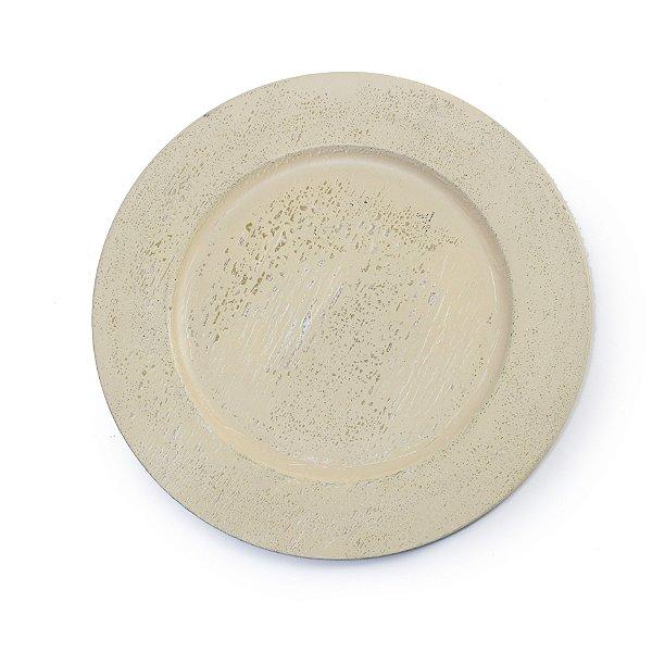 Sousplats em Resina Texturizado Efeito Concreto Decoração de Páscoa Rústica - 33cm - Cromus Páscoa - Rizzo Embalagens