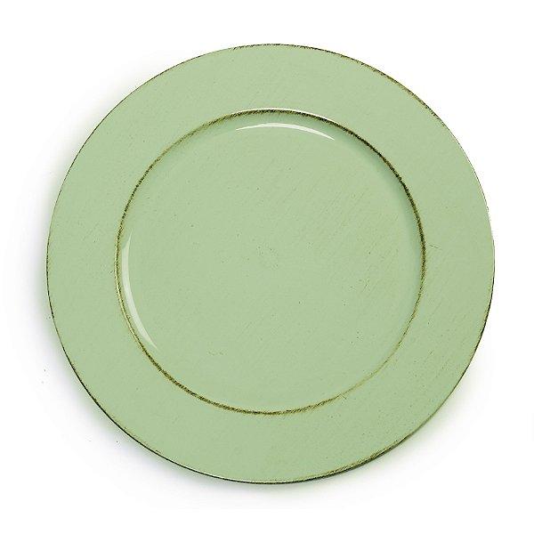 Sousplats em Resina Liso Envelhecido Verde Decoração de Páscoa - 33cm - Cromus Páscoa - Rizzo Embalagens