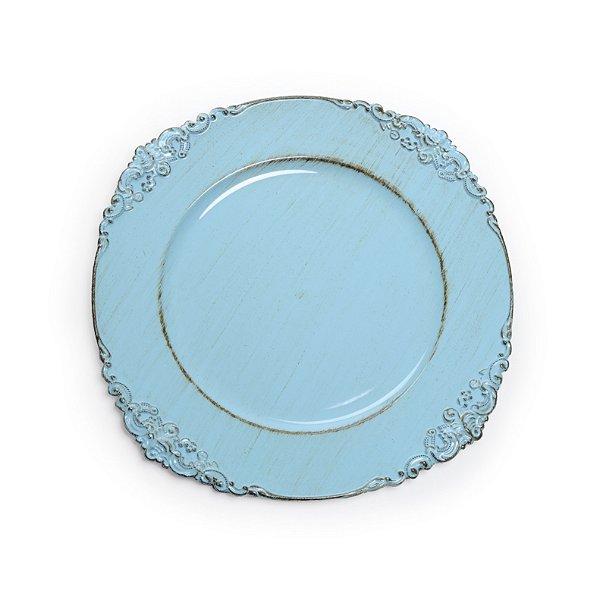Sousplats em Resina Liso Provençal Azul Decoração de Páscoa - 33cm - Cromus Páscoa - Rizzo Embalagens