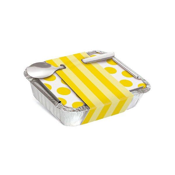 Marmitinha Com Cinta Listras Amarelo 8,5x6,5x2,5cm - 12 unidades - Cromus - Rizzo Embalagens