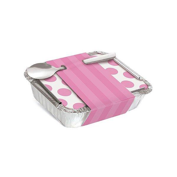 Marmitinha Com Cinta Listras Rosa 8,5x6,5x2,5cm - 12 unidades - Cromus - Rizzo Embalagens