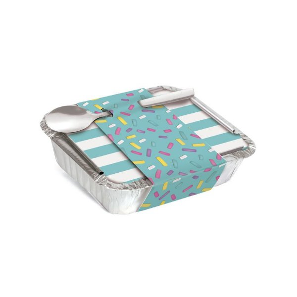 Marmitinha Com Cinta Granulado Azul 8,5x6,5x2,5cm - 12 unidades - Cromus - Rizzo Embalagens