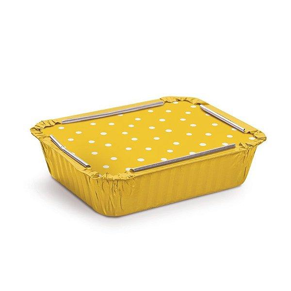 Marmitinha Amarelo Poá Branco M 8,5x6,5x2,5cm - 12 unidades - Cromus - Rizzo Embalagens