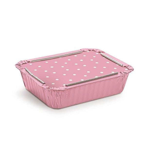 Marmitinha Rosa Poá Branco M 8,5x6,5x2,5cm - 12 unidades - Cromus - Rizzo Embalagens