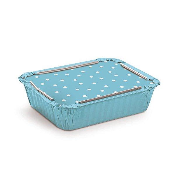 Marmitinha Azul Poá Branco M 8,5x6,5x2,5cm - 12 unidades - Cromus - Rizzo Embalagens