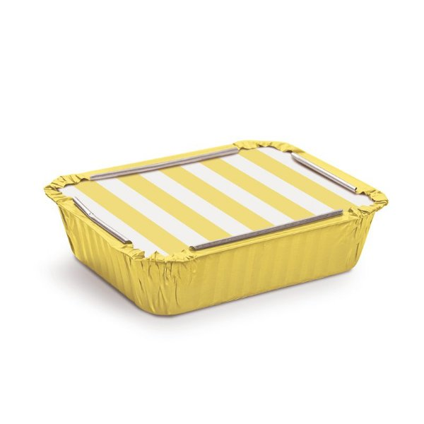 Marmitinha Listras Amarelo M 8,5x6,5x2,5cm - 12 unidades - Cromus - Rizzo Embalagens