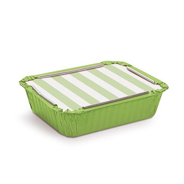 Marmitinha Listras Verde M 8,5x6,5x2,5cm - 12 unidades - Cromus - Rizzo Embalagens