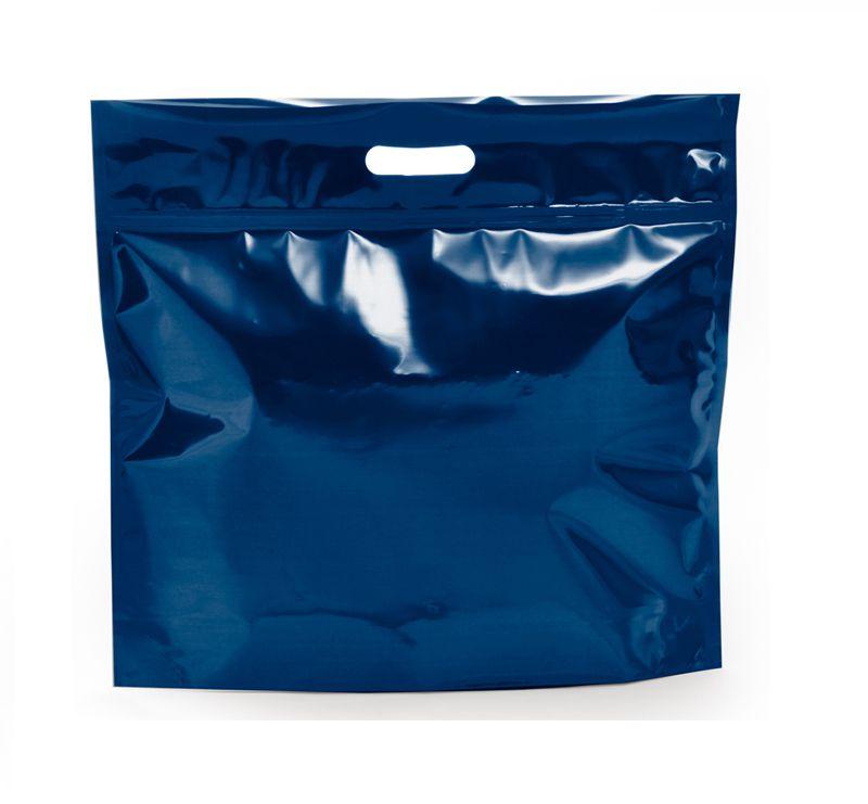 Sacola Metalizada com Zip P 32x40x5cm Azul - 01 unidade - Cromus - Rizzo Embalagens