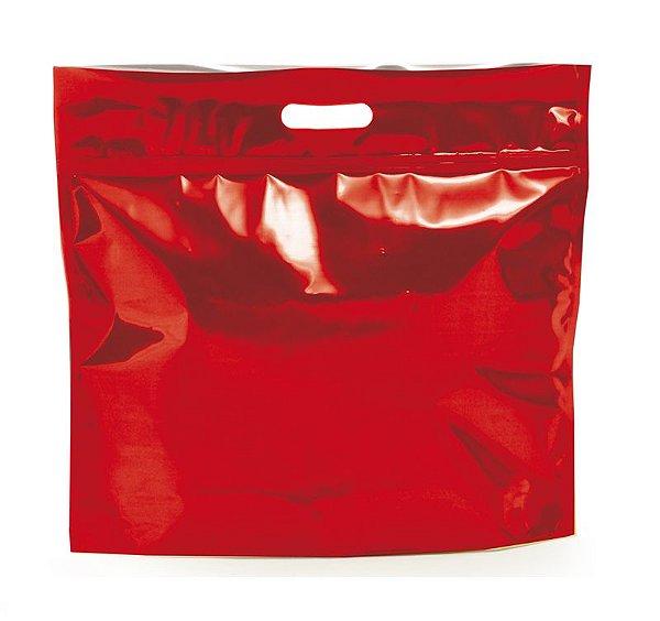 Sacola Metalizada com Zip P 32x40x5cm Vermelho - 01 unidade - Cromus - Rizzo Embalagens
