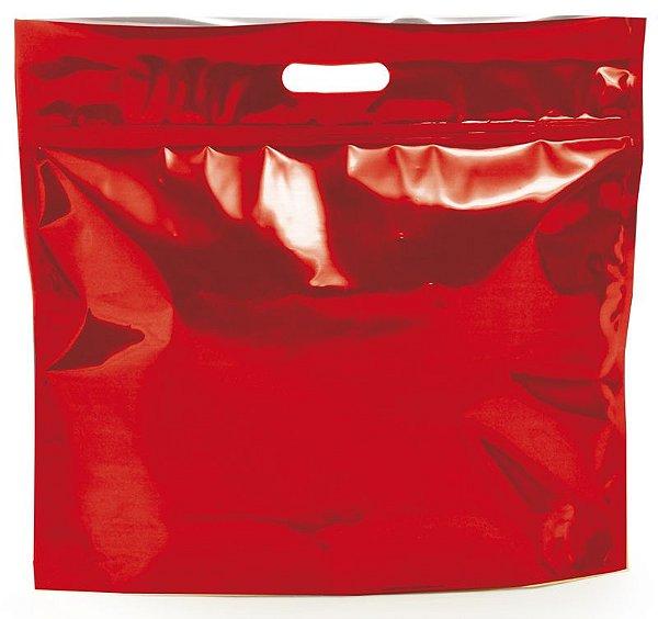 Sacola Metalizada com Zip G 46x43x5cm Vermelho - 01 unidade - Cromus - Rizzo Embalagens