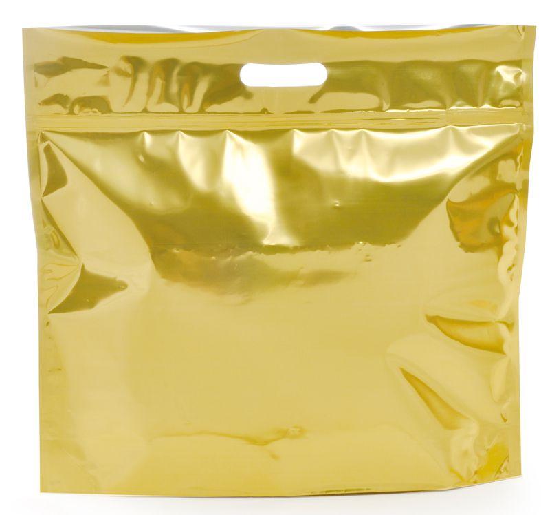 Sacola Metalizada com Zip G 46x43x5cm Dourado - 01 unidade - Cromus - Rizzo Embalagens