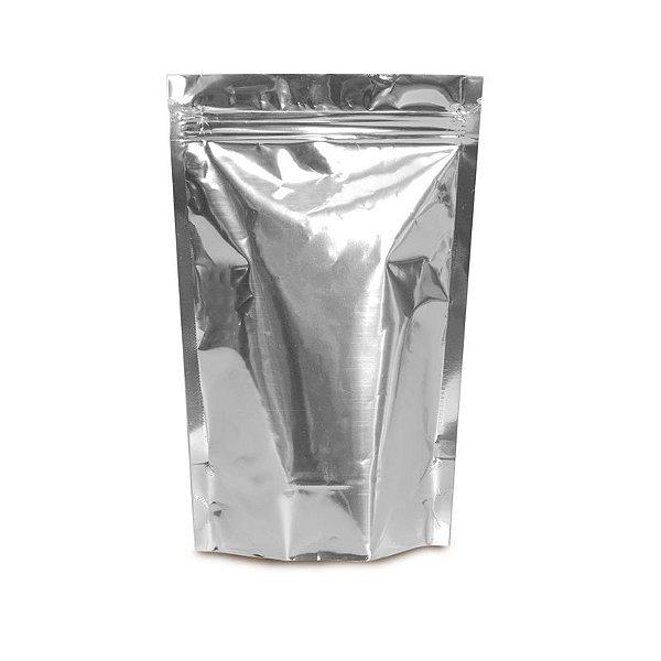 Sacolinha Metalizada com Zip 12x16cm Prata - 08 unidades - Cromus - Rizzo Embalagens